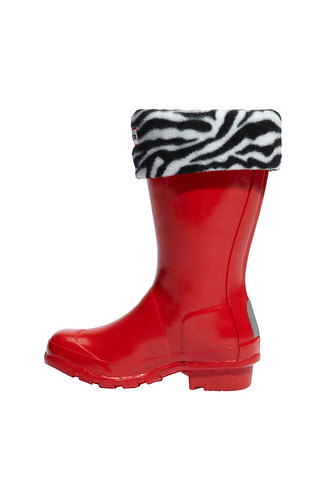 Hunter red with zebra boot sock