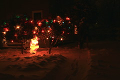 Santa Hiding (Jaxonista) Tags: santa christmas snow lights bushes c9