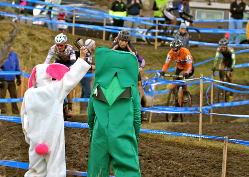 Easter Bunny and Gumby cheering racers on
