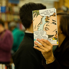 She loves it when he talks retro (diyosa) Tags: bookstore citylights northbeach ilovemyfriends headcover metsomenicepeopleinthestore onebikedfrommichigan likebicycle anotherwasintophotography headcoversamusememorethantheyprobablyshould