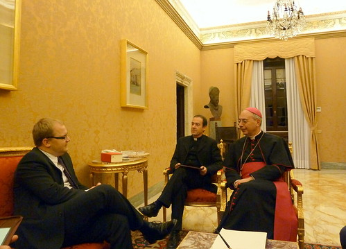 FM Urmas Paet Meeting meeting with Secretary for Relations with States, or foreign minister, of the Vatican Dominique Mambert, 14 Dec 2010