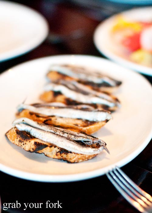 White anchovies on toast $6 for two pieces
