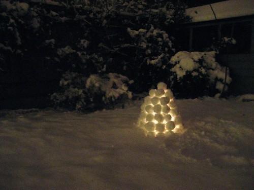 a snow lantern