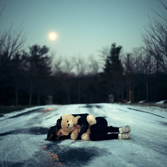 xxvii (Steven Sites) Tags: road bear street winter woman moon snow cold ice girl canon square outside eos 50mm frozen teddy pavement mark f14 katie freezing driveway ii 5d steven icy asphalt sites lingan stevensites katielingan