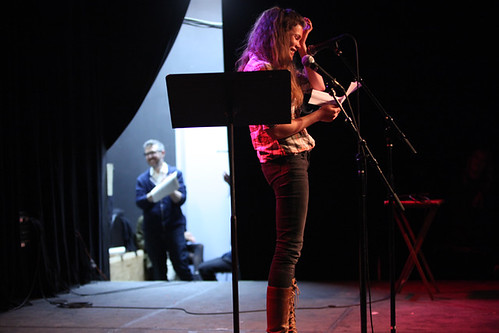 Edith Zimmerman performing as Ira watches from backstage