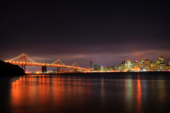 Photo of San Francisco Bay Bridge at night (oyenusi) Tags: camera bridge landscape island bay photo san francisco long exposure treasure romantic 5d m3 hdr d90
