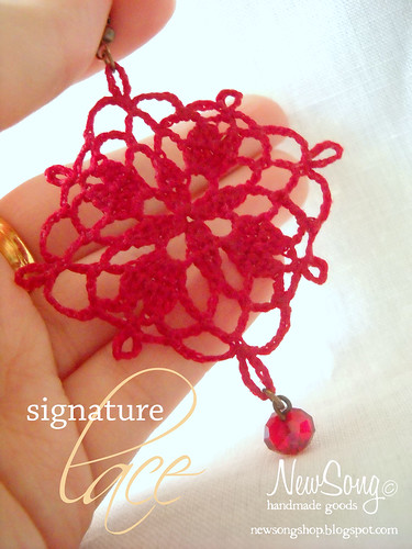 cardinal lace earrings
