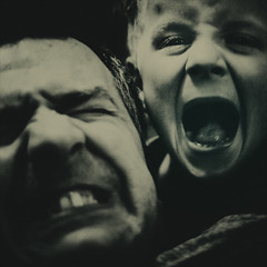 | father & son | (sommerpfuetze) Tags: boy 2 people bw white man black square fun mono couple faces skin father son be grimace fatherandson berliner zucker titzetatze