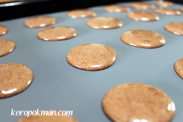 Chocolate Macarons ready for the oven
