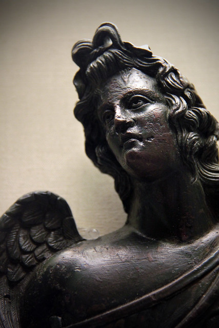 Bronze bust of a winged youth wearing ivy crown, Roman 2c AD