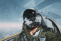 Self-Portrait over Georgia, by Wade Meyers (Wade Meyers) Tags: spitfire oilpainting usairforce t38talon aviationart fightercommand
