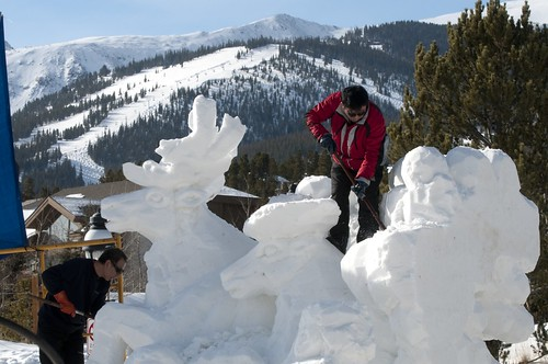 A sculpture carves out on of the many snow sculptures in Breckenridge, Colorado. breckenridge event