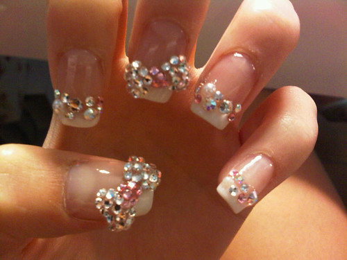 5324219746 d05ef1f6f7 superb nails shiny look ribbons with rhinestones ribbons nails art ribbons nail manicure pinky shade modern manicure glitter effect French manicure decorated nails amazing polish