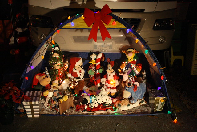 Campsites with Christmas decorations