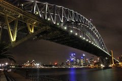 Sydney Harbour Bridge (mattychappy) Tags: city bridge house water metal architecture night canon point lights dc opera long exposure cityscape harbour tripod under sydney sigma australia os transportation newsouthwales below 1770 450 connection milsons tonemapped internationallandmark