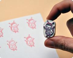 Ladybug hand carved rubber stamp