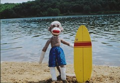 Sock Monkey Surfing (monkeymoments) Tags: hawaii surfing surfboard sockmonkeys hangten beachfun monkeyhumor sockmonkeyfun