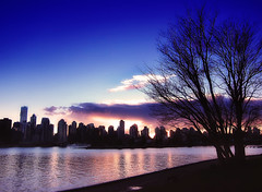 A Canadian dusk (ZedZap Photos) Tags: city travel pink sunset vacation holiday canada tree tourism skyline vancouver landscape bay glow bc dusk canadian vancouverisland pacificnorthwest stanleypark victoriabc nationalgeographic coalharbor sllhouette zedzap