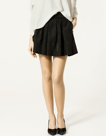 zara flared jaquard mini skirt