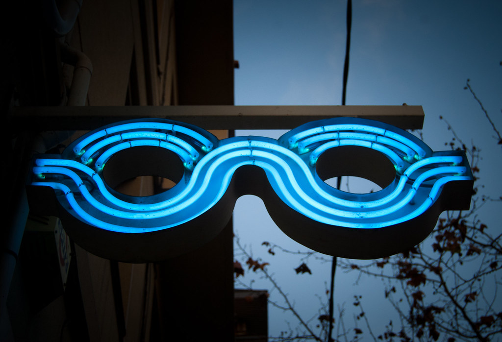 Neon glasses from an opticians in Barcelona