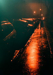 rain, cars and sodium - glasgow (chirgy) Tags: reflection cars wet rain night haze streetlights pavement glasgow sodium constellation hyndland testroll olympuspenf autaut streetphotographynow instruction16 38mmzuicko118 boots200asacolour