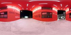 Medienfabrik Panorama RED - Equirectangular (daitoZen) Tags: red panorama architecture germany munich deutschland entrance 360 180 360x180 spherical degree ganghofer ptgui equirectangular medienfabrik panomaxx
