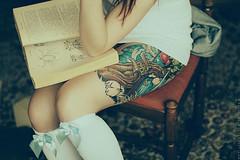 Some biology book (basistka) Tags: woman girl tattoo book asia retro biology basistka xbasistkax