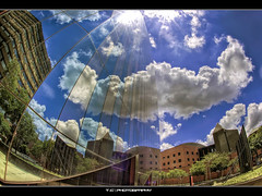 Cloudymetry (iPh4n70M) Tags: africa blue sky sun reflection building clouds photography glasses mirror soleil photo nikon photographer photographie geometry south du fisheye bleu reflet ciel photograph tc symetry nikkor miroir nuages 16mm géométrie hdr johannesburg sud immeuble vitres afrique photographe symétrie 9xp d700 9raw tcphotography ph4n70m iph4n70m tcphotographie