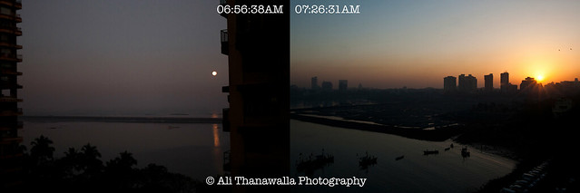 The setting moon and rising sun of Mumbai
