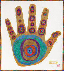 Hand for a friend (r.o.M.a.n) Tags: color colour art modern pencil painting paper real creativity artwork energy artist colours hand power symbol roman drawing spirit magic australian palm protective magical protection shaman amulet latvian shamanism lapp astract