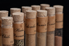 Spices in a row [Explored] (tounesse) Tags: macromondays inarow épices spices chili herbesdeprovence colombo cumin coriandre muscade tubeàessai testtube éprouvette bouchon bung stopper cork d90 105mm sb900 explore explored