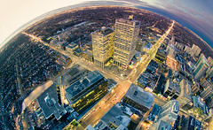 Uptown Dusk (tomms) Tags: toronto ontario canada dusk fisheye midtown explore uptown eglinton intersection yonge 8mm frontpage minto peleng rooftopping neilta jentse ronnieyip