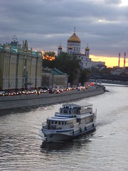 Travel through the river () Tags: road sunset sky cars night clouds river evening ship christ traffic cathedral russia moscow jam saviour