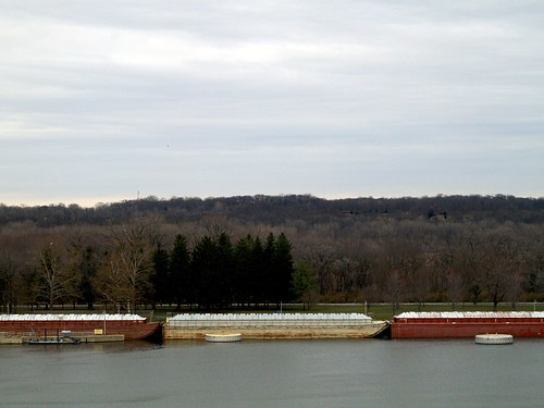 Barges on the Illinois River