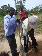 Bumang'ale Nursery School well-insertion of submersible pump during testpumping process
