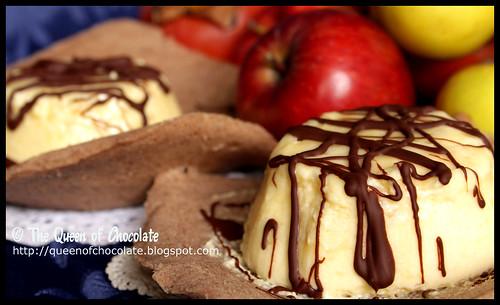 Apple mousse on cinnamon waffle