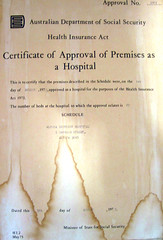 Certificate of Approval of Premises for Altona Hospital