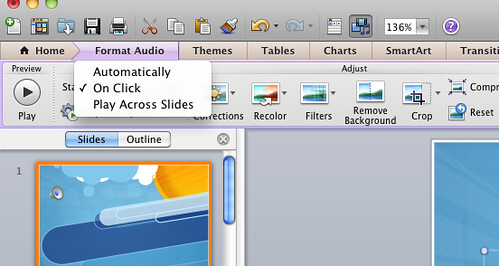 embed audio powerpoint mac 2011