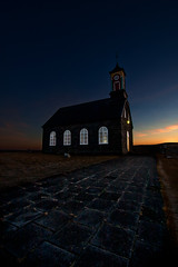 After sunset @16:00 (Inglfur B) Tags: sunset cloud house cold tower church nature night clouds dark landscape island lights frozen photo iceland dusk picture peaceful sland mynd hvalsneskirkja kirkja ogni darkandmoody inglfur  gni inglfurb ingolfurb bjargmundsson