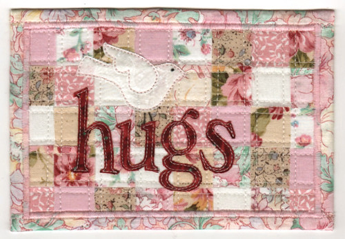 Hugs ~ Fabric Postcard
