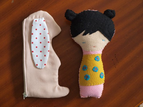 rabbit case and kokeshi doll rattle