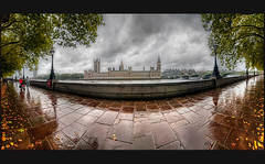 (CostaDinos) Tags: uk autumn trees houses london westminster leaves rain thames clouds river big long exposure day ben walk gray parliament bigben palace panoramic pathway westminsterpalace parliamenthouses