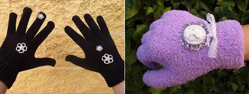 guantes con abalorios