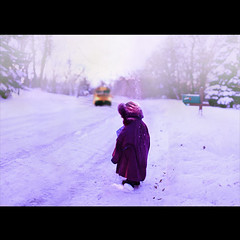 and in the morning, i waited. (karrah.kobus) Tags: christmas morning winter snow kid waiting child busstop present schoolbus oversized commission purplecoat