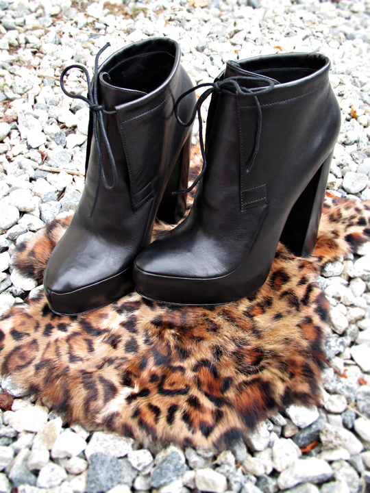 alexander wang lace up ankle boots on rocks and leopard fur
