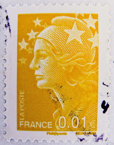 french stamps France 0.01 € 1c postage Marianne et l