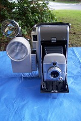 Polaroid Highlander Model 80A - with Wink Light and Flash attachments (faithapatton) Tags: camera vintage polaroid flash highlander retro landcamera winklight ohthanks