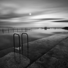 moon pool (s k o o v) Tags: longexposure bw moon reflections square curves burn eggs dodge guernsey 1740l bathingpools skoov luminancemasks