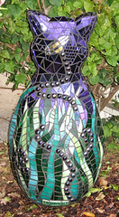 Cat Sculpture Back (Kim Larson Art) Tags: california oakland mural san francisco artist mosaic catart glassmosaic catsculpture catmosaic purpleart gardenmosaic