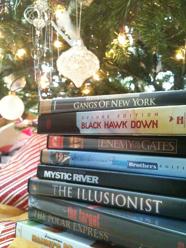 Stack of DVDs for Christmas